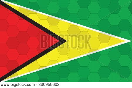 Guyana Flag Illustration. Futuristic Guyanese Flag Graphic With Abstract Hexagon Background Vector.