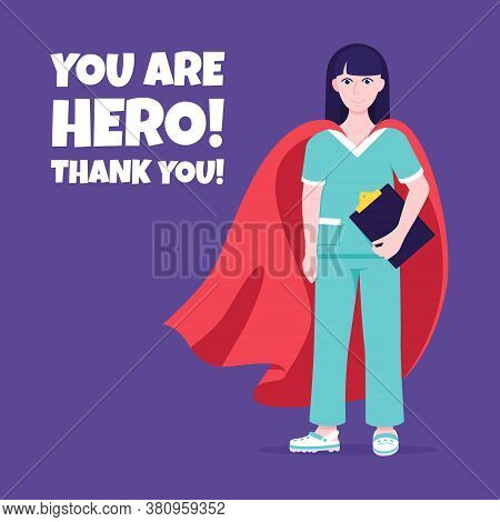 Young Female Nurse Hospital Medical Employee With Hero Cape Behind Fights Against Diseases And Virus