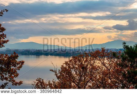 View Of Lake Pamvotis And The Waterfront Of Ioannina, In Epirus, Greece.
