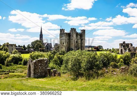 A Panoramic View Of Trim Castle In County Meath On The River Boyne, Ireland. It Is The Largest Anglo