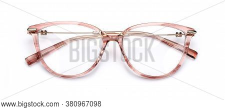 Glasses Eye Isolated On White. Eyeglasses For Read Closeup Top View.