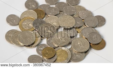 A Lot Of Money Kazakhstan Tenge On A White Background. The National Currency Of Kazakhstan. Salary I