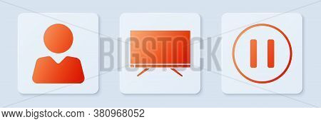 Set Smart Tv, Add To Friend And Pause Button. White Square Button. Vector