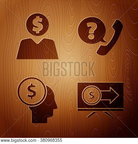 Set Monitor With Dollar, Business Man Planning Mind, Business Man Planning Mind And Telephone Handse