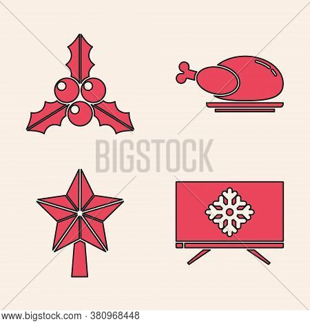 Set Merry Christmas On Television, Branch Viburnum Or Guelder Rose, Roasted Turkey Or Chicken And Ch