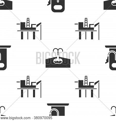 Set Petrol Or Gas Station, Oilfield And Oil Platform In The Sea On Seamless Pattern. Vector
