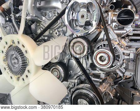 Close Up Car Engine Pulley Drive Belt
