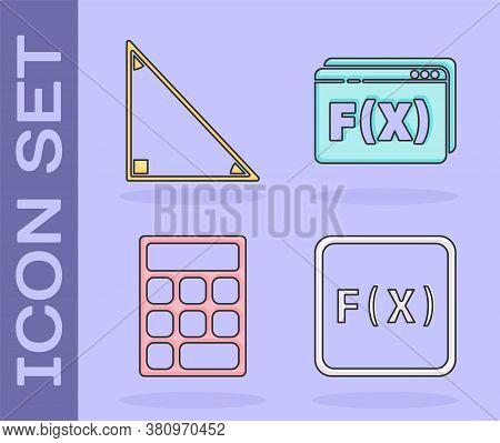 Set Function Mathematical Symbol, Triangle Math, Calculator And Function Mathematical Symbol Icon. V