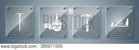 Set Wood Plane Tool, Claw Hammer, Angle Grinder And Metallic Nail. Square Glass Panels. Vector