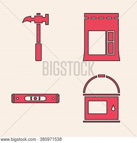 Set Paint Bucket, Claw Hammer, Cement Bag And Construction Bubble Level Icon. Vector
