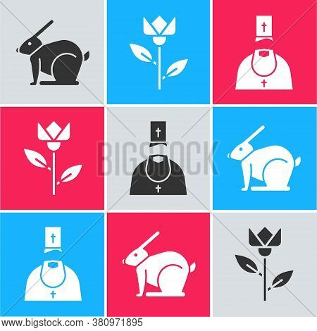 Set Easter Rabbit, Flower Tulip And Priest Icon. Vector