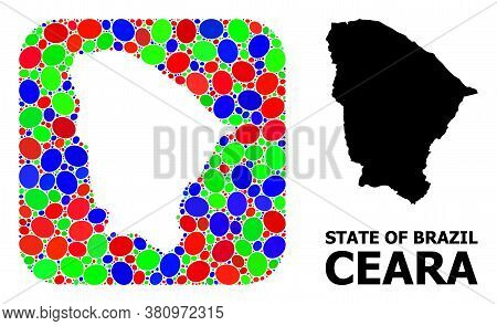 Vector Mosaic And Solid Map Of Ceara State. Bright Geographic Map Created As Subtraction From Rounde