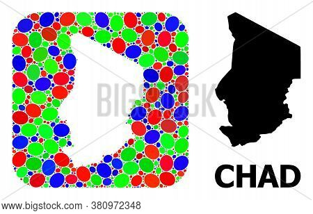 Vector Mosaic And Solid Map Of Chad. Bright Geographic Map Designed As Subtraction From Rounded Squa