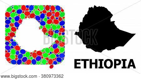 Vector Mosaic And Solid Map Of Ethiopia. Bright Geographic Map Created As Subtraction From Rounded S