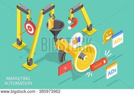3d Isometric Flat Vector Conceptual Illustration Of Digital Marketing Automation.