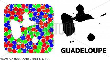 Vector Mosaic And Solid Map Of Guadeloupe. Bright Geographic Map Created As Subtraction From Rounded