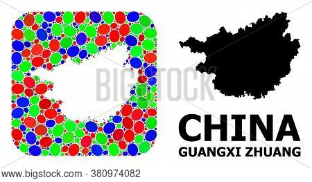 Vector Mosaic And Solid Map Of Guangxi Zhuang Region. Bright Geographic Map Designed As Stencil From