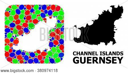 Vector Mosaic And Solid Map Of Guernsey Island. Bright Geographic Map Designed As Stencil From Round