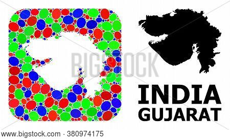 Vector Mosaic And Solid Map Of Gujarat State. Bright Geographic Map Created As Hole From Rounded Squ