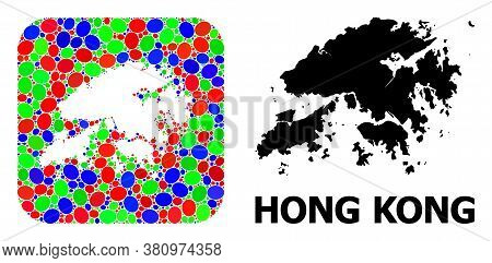 Vector Mosaic And Solid Map Of Hong Kong. Bright Geographic Map Designed As Hole From Rounded Square
