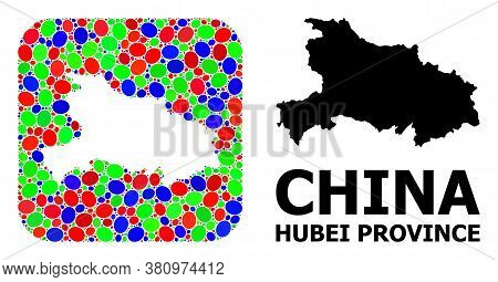 Vector Mosaic And Solid Map Of Hubei Province. Bright Geographic Map Designed As Hole From Rounded S