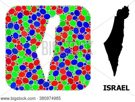 Vector Mosaic And Solid Map Of Israel. Bright Geographic Map Created As Subtraction From Rounded Squ
