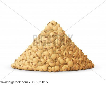 Heap Of Raw Soybeans, Side View. Lots Of Ripe Soy Grain Isolated On White Background. Vector Illustr