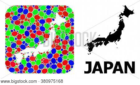 Vector Mosaic And Solid Map Of Japan. Bright Geographic Map Designed As Hole From Rounded Square Wit