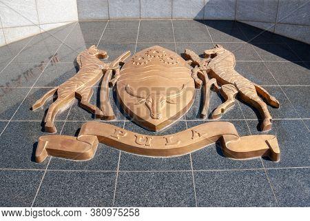Gaborone, Botswana - 9.13.2010:  Botswana coat of arms at the three Dikgosi monument in Gaborone