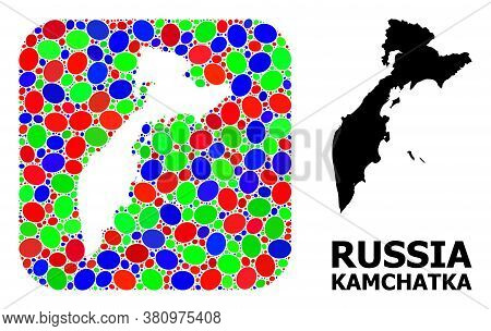 Vector Mosaic And Solid Map Of Kamchatka Peninsula. Bright Geographic Map Designed As Subtraction Fr