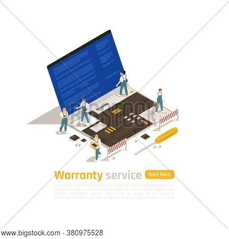 Warranty Service Isometric Design Concept With Small Figurines Of Technicians Making Repair Of Big L