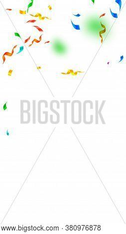 Streamers And Confetti. Festive Streamers Tinsel And Foil Ribbons. Confetti Falling Rain On White Ba