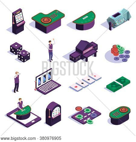 Isometric Icons Set With Casino Slot Machines Croupier And Tools For Gambling Games Isolated On Whit