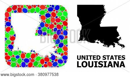 Vector Mosaic And Solid Map Of Louisiana State. Bright Geographic Map Constructed As Hole From Round