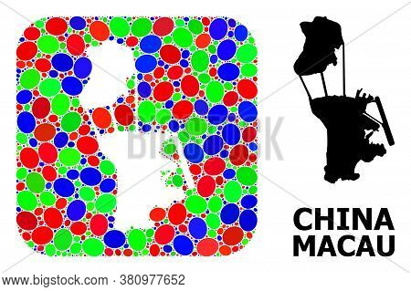 Vector Mosaic And Solid Map Of Macau. Bright Geographic Map Designed As Hole From Rounded Square Wit