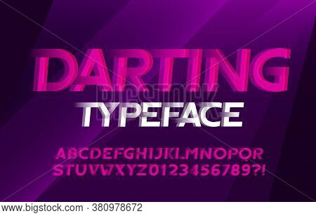 Darting Alphabet Font. Wind Effect Letters And Numbers. Abstract Background. Stock Vector Typescript