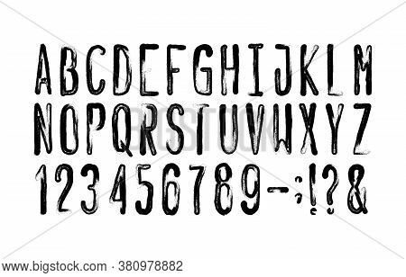 Hand Drawn Alphabet Font. Messy Uppercase Letters, Numbers And Symbols. Stock Vector Typescript For
