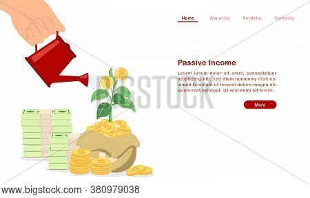 Website Landing Page Template Cartoon Invest And Grow Your Passive Income Concept Piles Of Coin And
