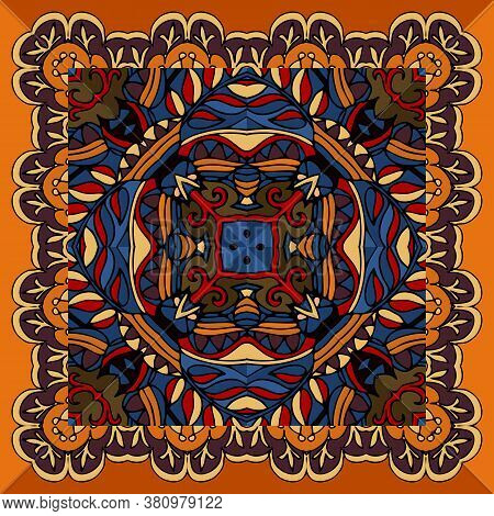 Bright Square Ethnic Ornament. Ceramic Tile. Colorful Print For Cushion And Pillowcase.