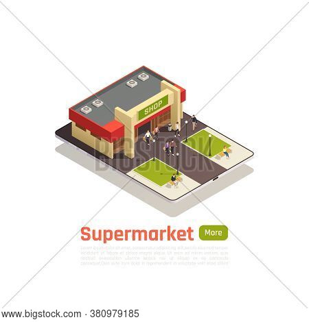 Shopping Center Store Mall Isometric Composition With Top View Building And Lawn Vector Illustration