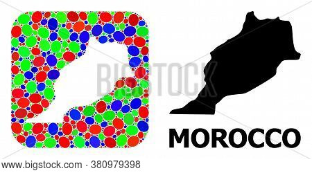 Vector Mosaic And Solid Map Of Morocco. Bright Geographic Map Created As Carved Shape From Rounded S