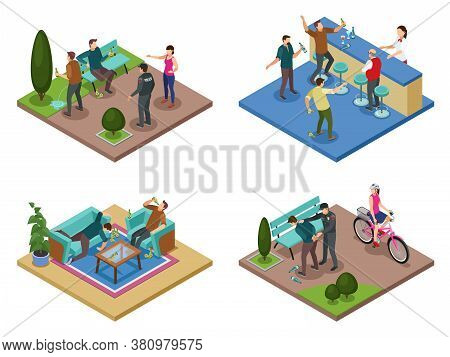 Alcoholism Dependance Concept 4 Isometric Compositions With Uncontrollable Drinking Public Antisocia