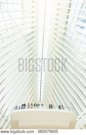 NEW YORK, USA - JAN 13, 2019: World Trade Center station Oculus traffic hub interior view as the mordern monumental landmark.
