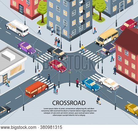 City Town Four Way Intersection Crossroad Isometric View Poster With Traffic Lights Pedestrian Zebra