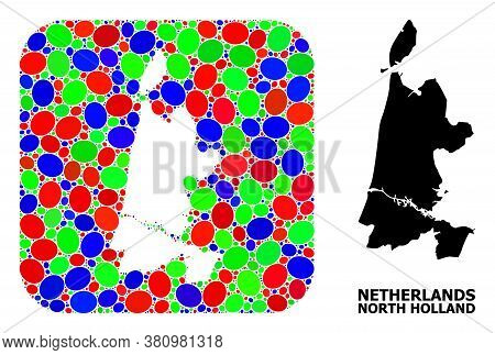 Vector Mosaic And Solid Map Of North Holland. Bright Geographic Map Constructed As Hole From Rounded
