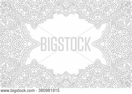 Beautiful Monochrome Linear Illustration For Adult Coloring Book Page With Abstract Fantasy Rectangl