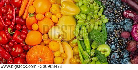 Rainbow Fruit And Vegetable Raw Food Background Top View Flat Lay With Copy Space For Text