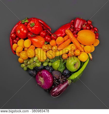 Rainbow Heart Of Fruits And Vegetables On Gray Background Go Vegetarian Love Healthy Eating Concept