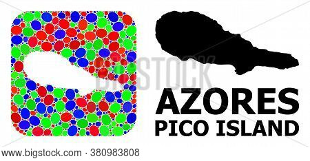 Vector Mosaic And Solid Map Of Pico Island. Bright Geographic Map Designed As Hole From Rounded Squa