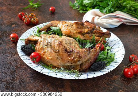 Baked Rabbit With Prunes. Diet Menu. Proper Nutrition.
